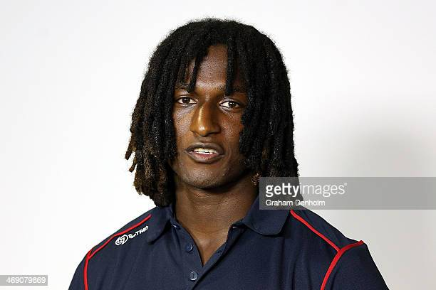 Nic Naitanui of the West Coast Eagles talks to the media during the launch of the AFL Multicultural Ambassador Program at AFL House on February 13...