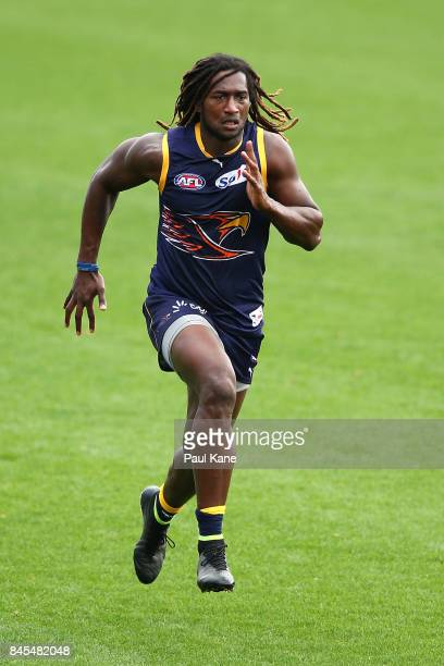 Nic Naitanui works on running drills during a West Coast Eagles AFL training session at Domain Stadium on September 11 2017 in Perth Australia