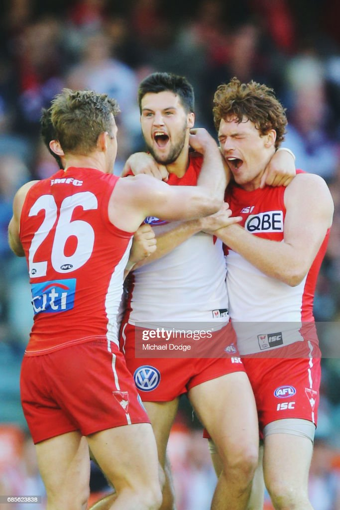 Nic Newman of the Swans celebrates a goal Gary Rohan of the Swans (R) during the round nine AFL match between the St Kilda Saints and the Sydney Swans at Etihad Stadium on May 20, 2017 in Melbourne, Australia.