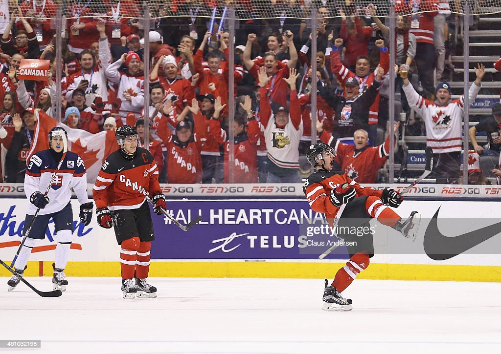 Nic Petan of Team Canada celebrates his 3rd goal of the game against Team Slovakia during a semifinal game in the 2015 IIHF World Junior Hockey...