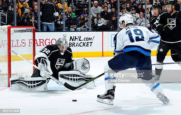 Nic Petan of the Winnipeg Jets takes a shot on goal against Jonathan Quick of the Los Angeles Kings on April 9 2016 at STAPLES Center in Los Angeles...