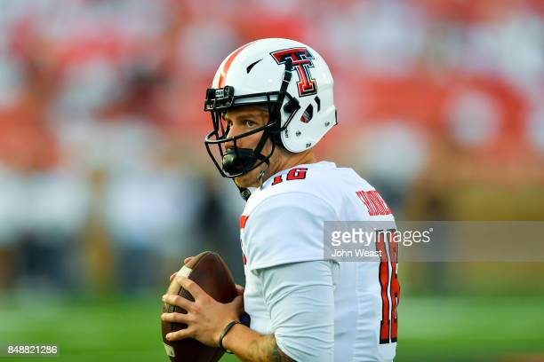 Nic Shimonek of the Texas Tech Red Raiders during warmups prior to the game between the Texas Tech Red Raiders and the Arizona State Sun Devils on...