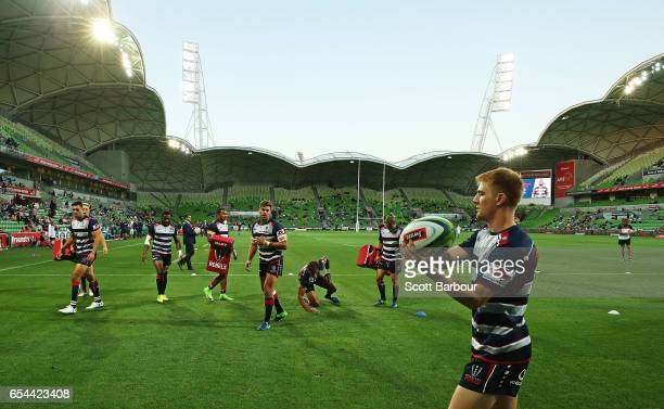 Nic Stirzaker and the Rebels warm up prior to the round four Super Rugby match between the Rebels and the Chiefs at AAMI Park on March 17 2017 in...