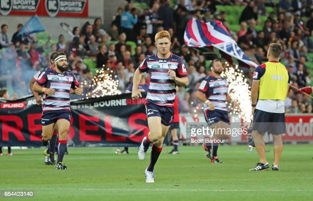 Nic Stirzaker leads the Rebels onto the field during the round four Super Rugby match between the Rebels and the Chiefs at AAMI Park on March 17 2017...