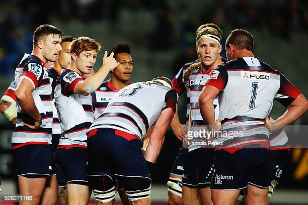 Nic Stirzaker of the Rebels calls his team over during the Super Rugby round ten match between the Blues and the Melbourne Rebels at Eden Park on...