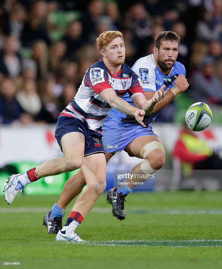 Nic Stirzaker of the Rebels passes the ball during the round 14 Super Rugby match between the Rebels and the Force at AAMI Park on May 29, 2016 in Melbourne, Australia.