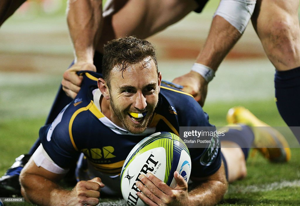 <a gi-track='captionPersonalityLinkClicked' href=/galleries/search?phrase=Nic+White+-+Rugby+Player&family=editorial&specificpeople=10977486 ng-click='$event.stopPropagation()'>Nic White</a> of the Brumbies reacts after scoring a try during the round one Super Rugby match between the Brumbies and the Reds at GIO Stadium on February 13, 2015 in Canberra, Australia.