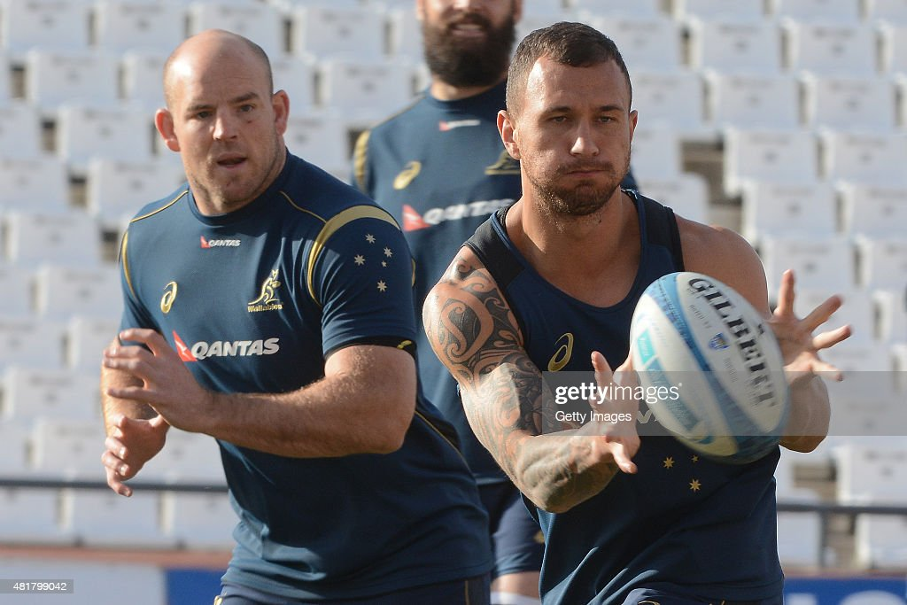 <a gi-track='captionPersonalityLinkClicked' href=/galleries/search?phrase=Nic+White+-+Rugby+Player&family=editorial&specificpeople=10977486 ng-click='$event.stopPropagation()'>Nic White</a> receives the ball during an Australian Wallabies Captain's Run at Estadio Malvinas Argentinas on July 24, 2015 in Mendoza, Argentina.