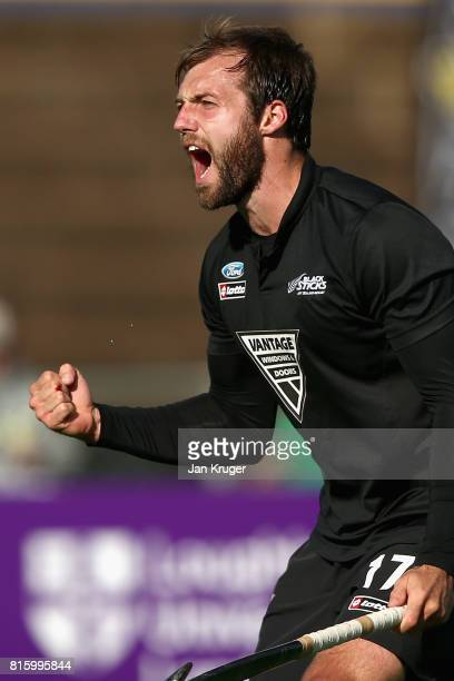 Nic Woods of New Zealand celebrates scoring his sides second goal during the Group A match between Spain and New Zealand on day five of the FIH...