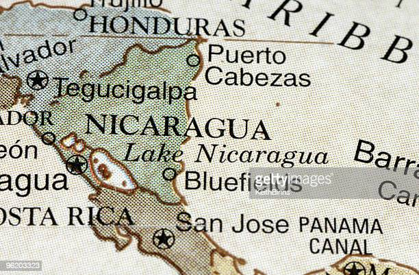 Nicaragua old style vintage map