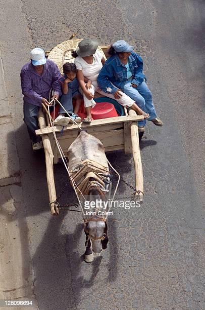 Nicaragua, San Juan Del Sur, Family on horse cart