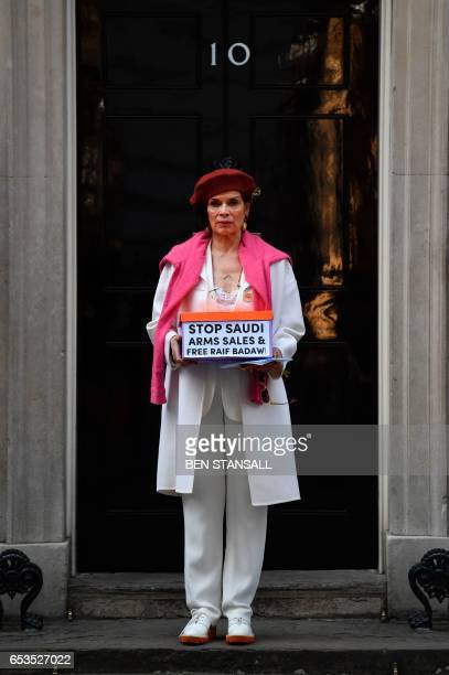 Nicaraguan former actress and human rights advocate Bianca Jagger delivers a petition urging the UK government to halt arms sales to Saudi Arabia and...