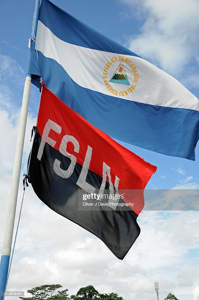 Nicaraguan National Flag and FSLN Flag