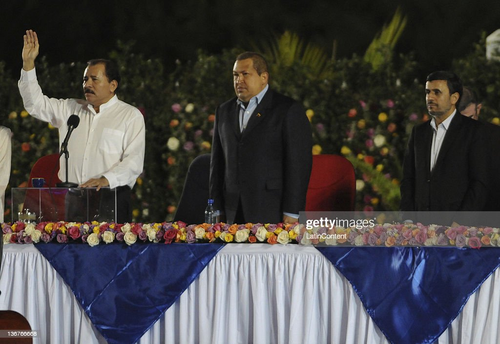 Nicaraguan newly elected president Daniel Ortega, Venezuelan President Hugo Chaves and Iranian president Mahmud Ahmadineyad during the inauguration of Ortega´s third term as Nicaraguan president at Revolution Square on January 10, 2012 in Managua, Nicaragua. Ortega won the elections on November 2011 with the 64 percent of the votes. He had been previously elected in 1984 and 2006.