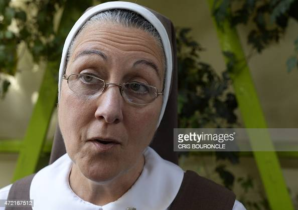 Nicaraguan nun Maria Adela Galindo of the Congregation of the Servants of the Pierced Hearts of Jesus and Mary explains the presentation of a...