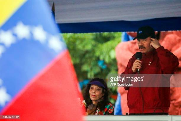 Nicaraguan President Daniel Ortega speaks to supporters in Managua on July 7 2017 during the celebration of the 38th anniversary of 'El Repliegue'...