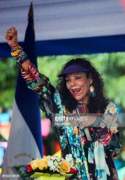 Nicaraguan Vice President Rosario Murillo waves at supporters in Managua on July 7 2017 during the celebration of the 38th anniversary of 'El...