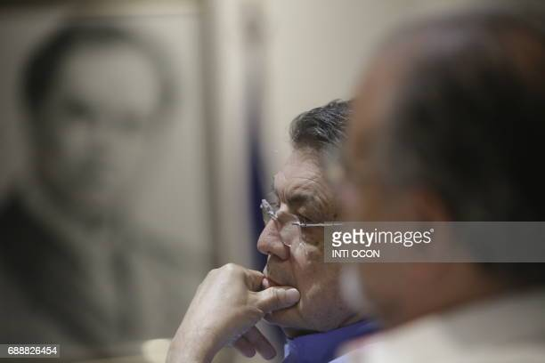 Nicaraguan writer Sergio Ramirez listens to a conversation about 'Gabriel García Marquez Creator of a literary world beyond reality' during the last...