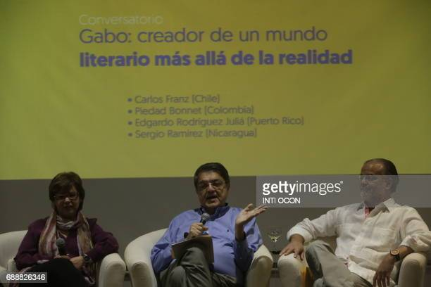 Nicaraguan writer Sergio Ramirez talks about 'Gabriel García Marquez Creator of a literary world beyond reality' during the last day of the Fifth...