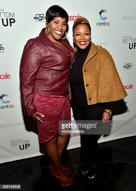 Nicci Gilbert and Avery Sunshine attend the From The Bottom Up Reception at Ventanas on January 14 2016 in Atlanta Georgia