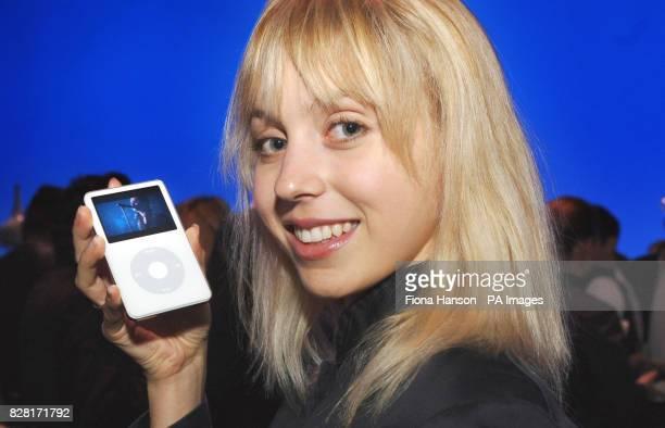 Nicci Holtby with the new video iPod from Apple which was launched at the BBC TV Centre in London Wednesday October 12th 2005 Computer giant Apple...