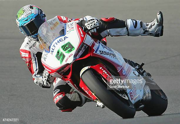 Niccolò Canepa of Italy and Althea Racing in action during the warm up before race one during round one of the 2014 World Superbike Championship at...