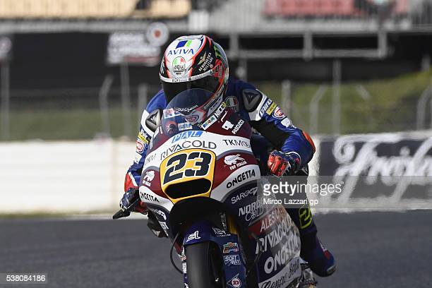 Niccolo Antonelli of Italy and Ongetta Rivacold heads down a straight during the qualifying practice during the MotoGp of Catalunya Qualifying at...