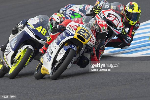 Niccolo Antonelli of Italy and Ongetta Rivacold leads the field during the qualifying practice during the MotoGP Of Japan Qualifying at Twin Ring...