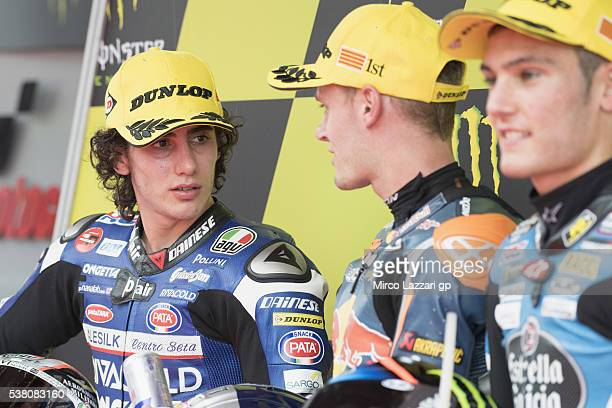 Niccolo Antonelli of Italy and Ongetta Rivacold looks on at the end of the qualifying practice during the MotoGp of Catalunya Qualifying at Circuit...