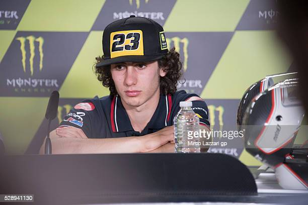 Niccolo Antonelli of Italy and Ongetta Rivacold looks on during the press conference at the end of the qualifying practice during the MotoGp of...