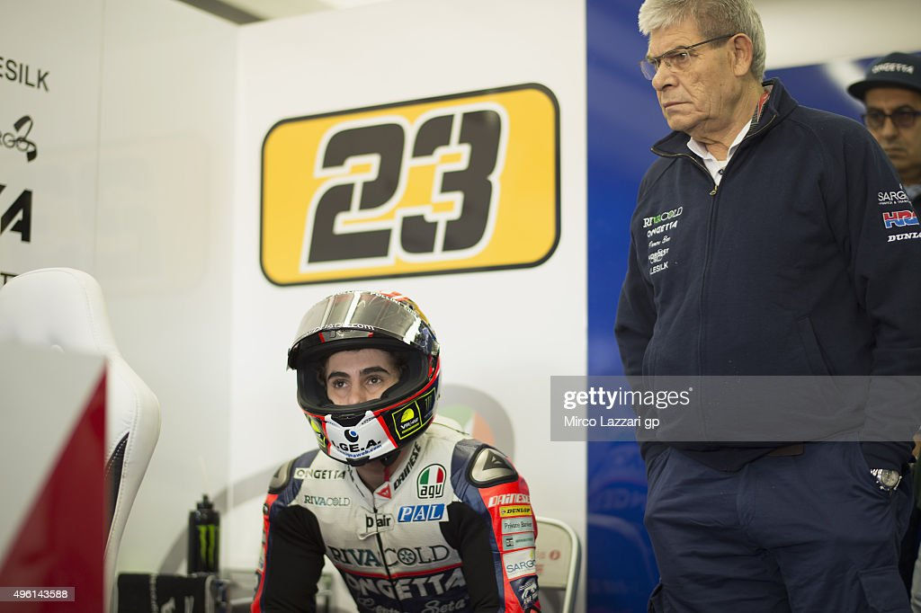 Niccolo Antonelli of Italy and Ongetta Rivacold looks on in box during the qualifying practice during the MotoGP of Valencia Qualifying at Ricardo...