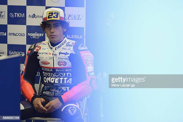 Niccolo Antonelli of Italy and Ongetta Rivacold looks on in box during the MotoGp of Austria Free Practice at Red Bull Ring on August 12 2016 in...