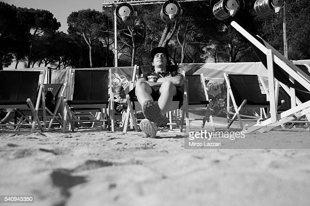 Niccolo Antonelli of Italy and Ongetta Rivacold relax during the presentation of 'Valentino Rossi The Game' during the MotoGp of Catalunya Previews...