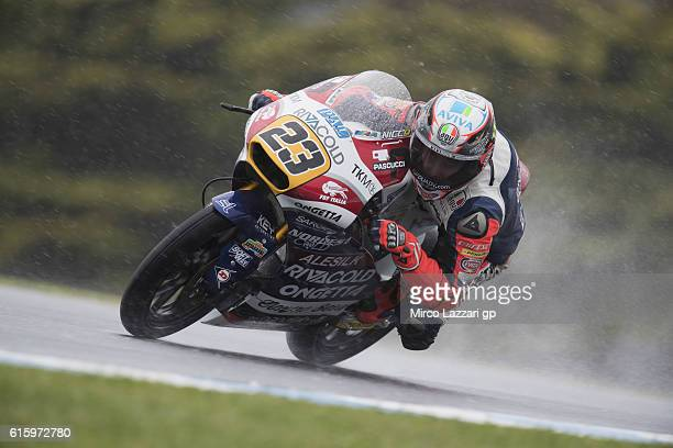 Niccolo Antonelli of Italy and Ongetta Rivacold rounds the bend during free practice for the 2016 MotoGP of Australia at Phillip Island Grand Prix...