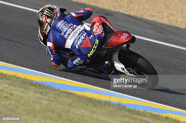Niccolo Antonelli of Italy and Ongetta Rivacold rounds the bend during the MotoGp of France Qualifying at on May 7 2016 in Le Mans France