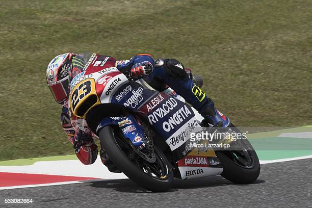 Niccolo Antonelli of Italy and Ongetta Rivacold rounds the bend during the MotoGp of Italy Free Practice at Mugello Circuit on May 20 2016 in...