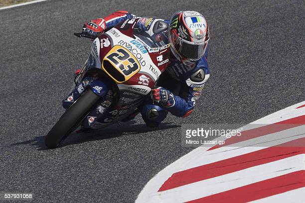 Niccolo Antonelli of Italy and Ongetta Rivacold rounds the bend during the free practice during the MotoGp of Catalunya Free Practice at Circuit de...