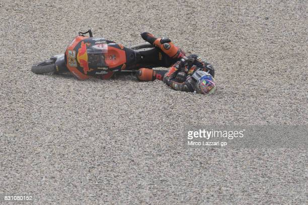 Niccolo Antonelli of Italy and Red Bull KTM Ajo crashed out during the Moto3 race during the MotoGp of Austria Race at Red Bull Ring on August 13...