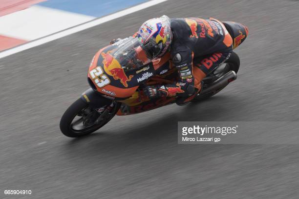 Niccolo Antonelli of Italy and Red Bull KTM Ajo heads down a straight during the MotoGp of Argentina Free Practice on April 7 2017 in Rio Hondo...