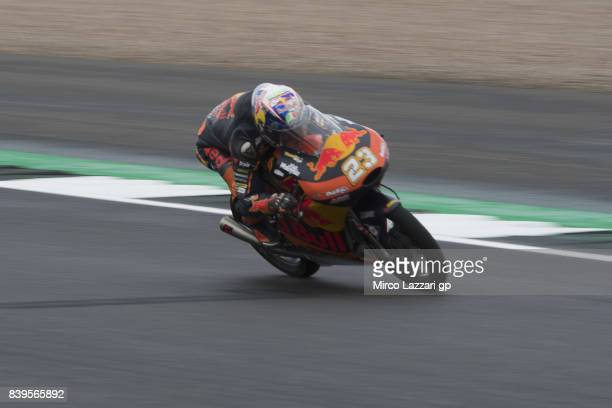 Niccolo Antonelli of Italy and Red Bull KTM Ajo heads down a straight during the MotoGp Of Great Britain Qualifying at Silverstone Circuit on August...