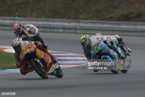 Niccolo Antonelli of Italy and Red Bull KTM Ajo leads the field during the Moto3 race during the MotoGp of Czech Republic Race at Brno Circuit on...