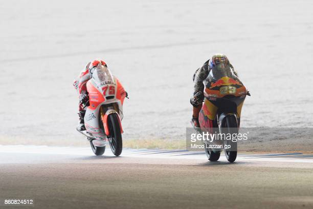 Niccolo Antonelli of Italy and Red Bull KTM Ajo leads the field during the MotoGP of Japan Free Practice at Twin Ring Motegi on October 13 2017 in...