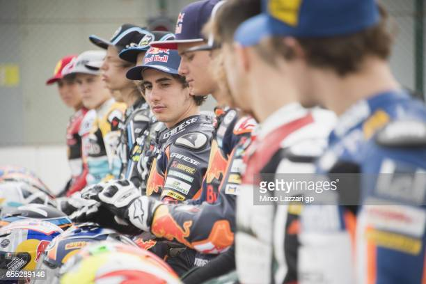 Niccolo Antonelli of Italy and Red Bull KTM Ajo poses during the photo of the Moto3 KTM riders and bikes on track during the Moto2 And Moto3 Tests In...