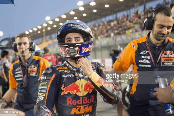 Niccolo Antonelli of Italy and Red Bull KTM Ajo prepares to start on the grid during the Moto3 race during the MotoGp of Qatar Race at Losail Circuit...