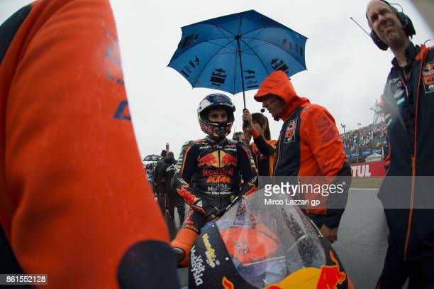 Niccolo Antonelli of Italy and Red Bull KTM Ajo prepares to start on the grid during the Moto3 race during the MotoGP of Japan Race at Twin Ring...