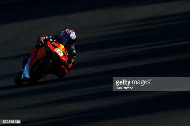 Niccolo Antonelli of Italy and Red Bull KTM Ajo rides during warmup for the MotoGP of Spain at Circuito de Jerez on May 7 2017 in Jerez de la...