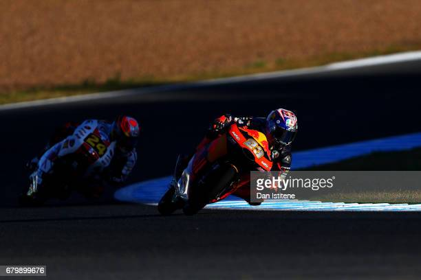 Niccolo Antonelli of Italy and Red Bull KTM Ajo rides during warmup for Moto3 at Circuito de Jerez on May 7 2017 in Jerez de la Frontera Spain