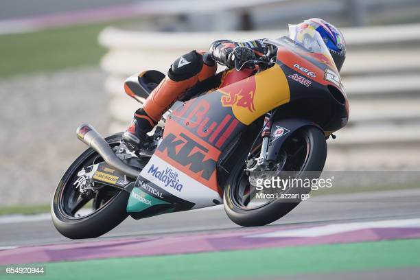 Niccolo Antonelli of Italy and Red Bull KTM Ajo rounds the bend during Moto2 And Moto3 Tests In Losail at Losail Circuit on March 18 2017 in Doha...