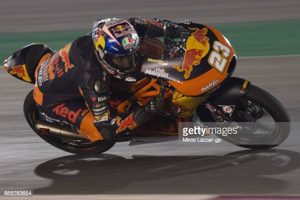Niccolo Antonelli of Italy and Red Bull KTM Ajo rounds the bend during the Moto2 And Moto3 Tests In Losail at Losail Circuit on March 19 2017 in Doha...