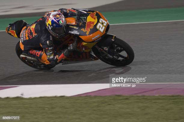 Niccolo Antonelli of Italy and Red Bull KTM Ajo rounds the bend during the MotoGp of Qatar Free Practice at Losail Circuit on March 23 2017 in Doha...